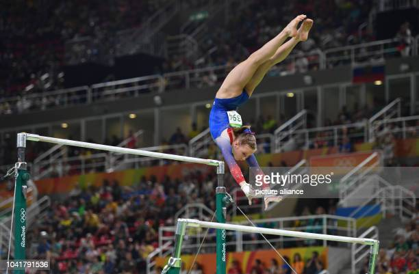Madison Kocian of the USA in action during the Women's Uneven Bars Final at the Artistic Gymnastics events of the Rio 2016 Olympic Games at the Rio...