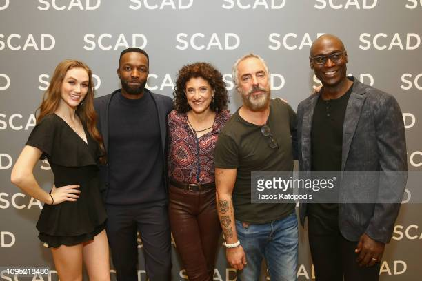 Madison Lintz Jamie Hector Amy Aquino Titus Welliver and Lance Reddick attend the 'Bosch' press junket during SCAD aTVfest 2019 at SCADshow on...