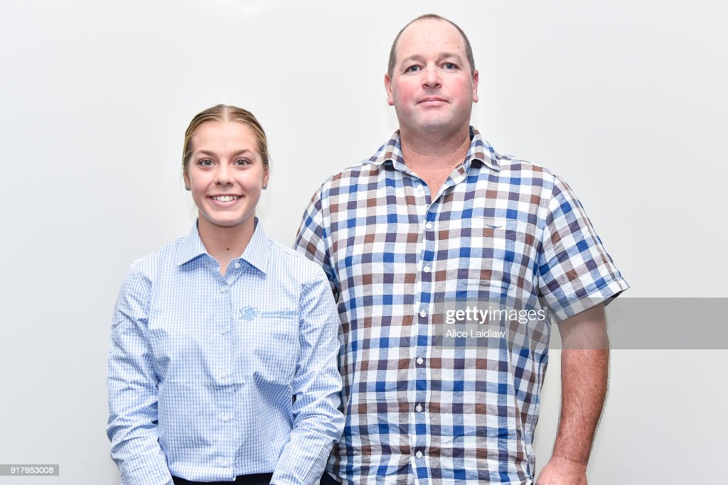 Madison Lloyd and Nathan Hobson at the Apprentice Jockeys Induction at Racing Victoria on February 14, 2018 in Flemington, Australia.