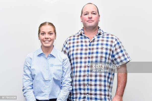 Madison Lloyd and Nathan Hobson at the Apprentice Jockeys Induction at Racing Victoria on February 14 2018 in Flemington Australia