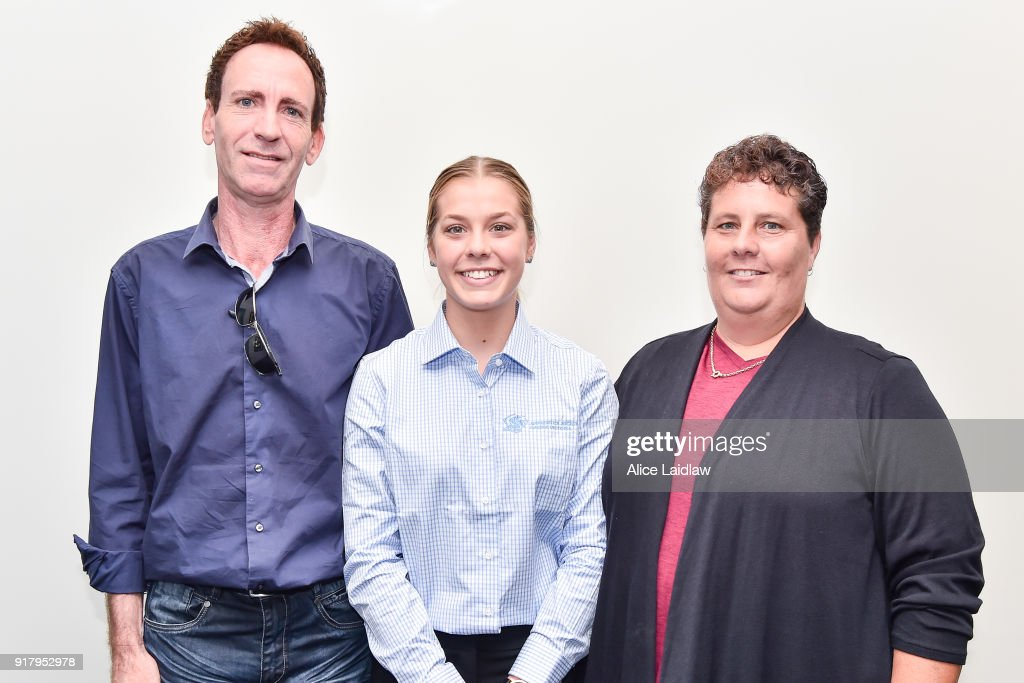 Madison Lloyd with her parents Darren and Vicki Lloyd at the Apprentice Jockeys Induction at Racing Victoria on February 14, 2018 in Flemington, Australia.