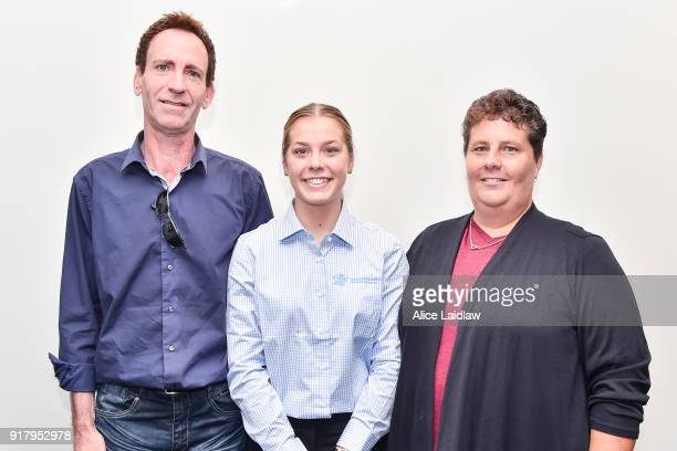 Madison Lloyd with her parents Darren and Vicki Lloyd at the Apprentice Jockeys Induction at Racing Victoria on February 14 2018 in Flemington...