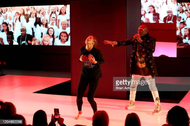 Madison Lynch and Alex Boyé perform onstage for American Foundation for Suicide Prevention during NYFW Powered By hiTechMODA on February 08 2020 in...