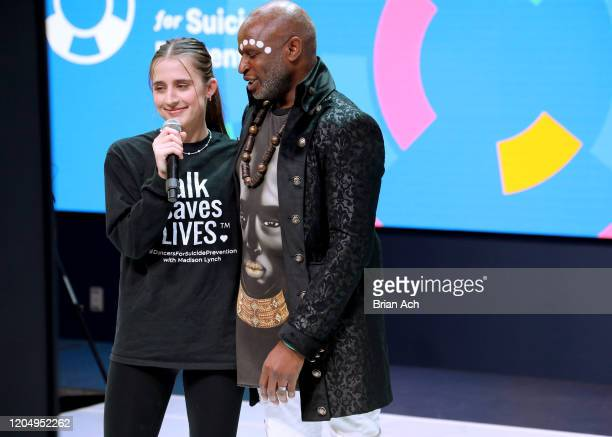 Madison Lynch and Alex Boyé speak onstage on behalf of the American Foundation for Suicide Prevention during NYFW Powered By hiTechMODA on February...