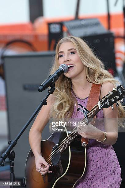 Madison Maddie Marlow of Maddie Tae performs on NBC's Today Show at Rockefeller Plaza on September 1 2015 in New York City