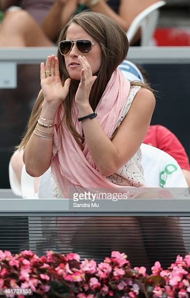 Madison Maddy McKinley girlfriend of John Isner cheers him on during the final against YenHsun Lu of Chinese Tapei on day six of the Heineken Open at...