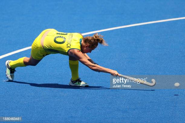 Madison Mae Fitzpatrick of Team Australia shoots the ball during the Women's Pool B match against Team Spain on day two of the Tokyo 2020 Olympic...