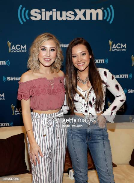 Madison Marlow and Taylor Dye of Maddie and Tae attend SiriusXM's The Highway channel broadcast backstage at the Academy of Country Music Awards on...