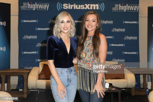 Madison Marlow and Taylor Dye of Maddie and Tae attend the SiriusXM's The Highway broadcast backstage leading up to the Academy of Country Music...