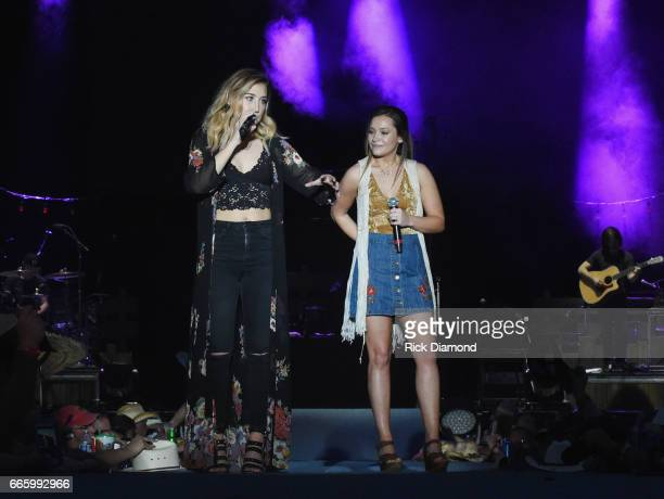 Madison Marlow and Taylor Dye of Maddie Tae performd Day 2 Country Thunder Music Festival Arizona on April 7 2017 in Florence Arizona