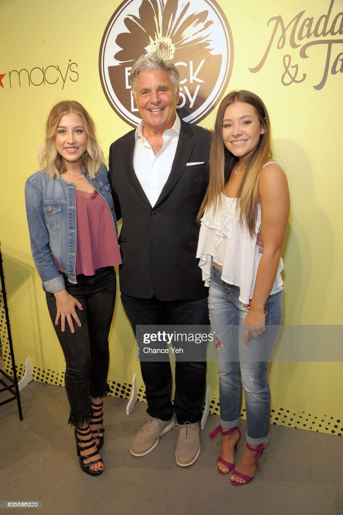 Madison Marlow, One Jean Wear CEO Jack Gross and Taylor Dye attend Maddie & Tae visit to Macy's at Macy's Herald Square on August 19, 2017 in New York City.