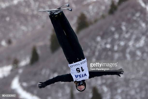 Madison Olsen of the United States competes in the Ladies' Aerials qualifying during the 2018 FIS Freestyle Ski World Cup at Deer Valley Resort on...