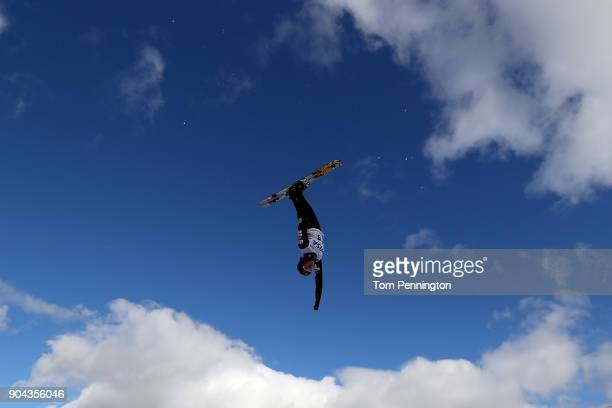 Madison Olsen of the United States jumps during practice in the Ladies' Aerials during the 2018 FIS Freestyle Ski World Cup at Deer Valley Resort on...