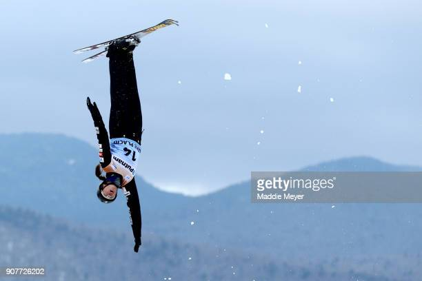 Madison Olsen of the United States jumps during the Ladies Qualifying round of the Putnam Freestyle World Cup at the Lake Placid Olympic Ski Jumping...