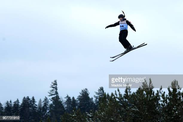 Madison Olsen of the United States trains before the qualifying round of the Putnam Freestyle World Cup at the Lake Placid Olympic Ski Jumping...
