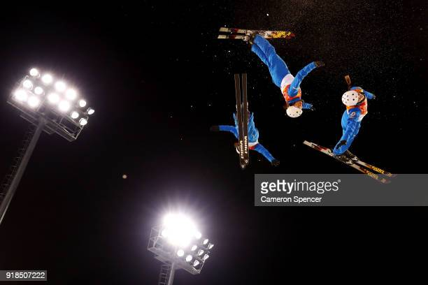 Madison Olsen of the United States warms up ahead of the Freestyle Skiing Ladies' Aerials Qualification on day six of the PyeongChang 2018 Winter...