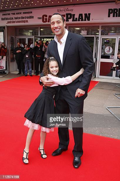 Madison Pettis and Dwayne 'The Rock' Johnson attend The Game Plan premiere held at the Odeon Leicester Square on March 2 2008 in London England