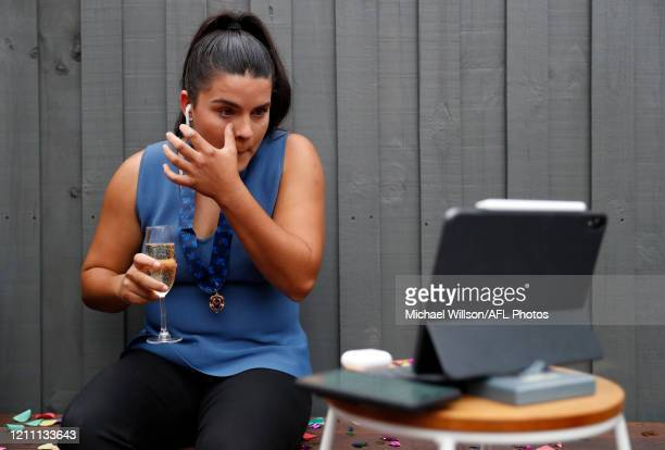 Madison Prespakis of the Blues is seen as she is announced as the 2020 AFLW Best and Fairest winner on April 28 2020 in Melbourne Australia