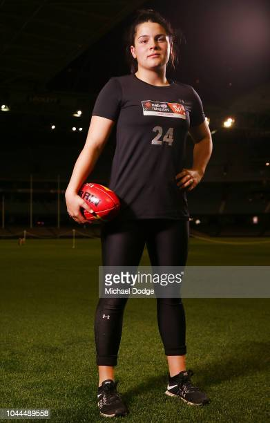 Madison Prespakis poses during the AFLW Draft Combine at Etihad Stadium on October 2 2018 in Melbourne Australia
