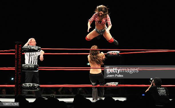 Madison Rayne and Tara competes in the ring against Angelina Love and Mickie James during the TNA Wrestling European Tour at O2 Arena on January 25...