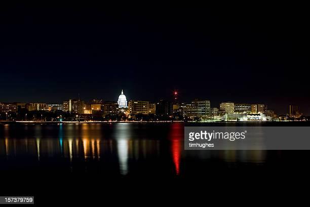 Madison skyline at night.