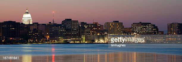 madison skyline at twilight - madison wisconsin stock pictures, royalty-free photos & images