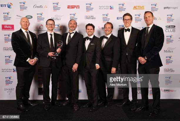 Madison Sports Group pose with the Entertainment Experience of the Year award in association with Active with Tom Shanklin and Will Greenwood during...