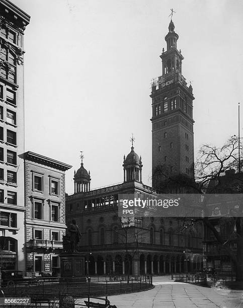 Madison Square Garden II, on the corner of 26th and Madison Avenue in New York City, as seen from Madison Square Park, circa 1900. It was designed by...