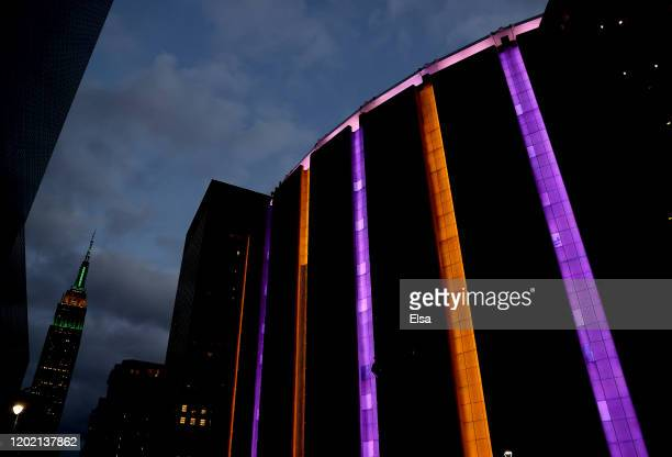 Madison Square Garden is lit up in Los Angeles Lakers colors in honor of former Laker great Kobe Bryant prior to the game between the New York Knicks...