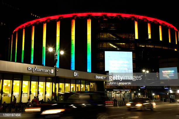 Madison Square Garden lights up in support of the 50th anniversary of the first gay pride march on June 28 2020 Due to the ongoing Coronavirus...