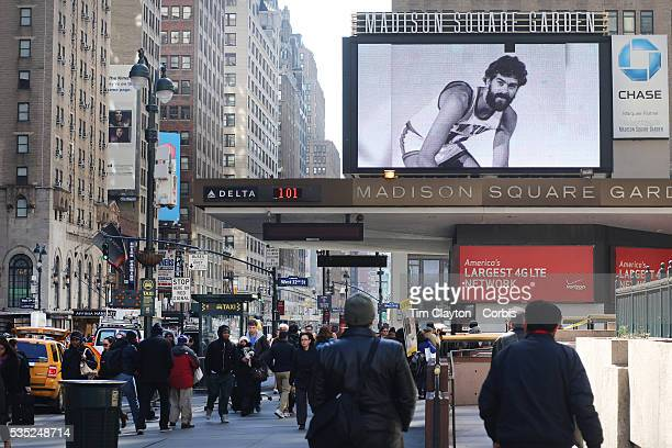 Madison Square Gardens welcome Phil Jackson to the New York Knicks showing old footage of him in action on the big screen outside the venue which...