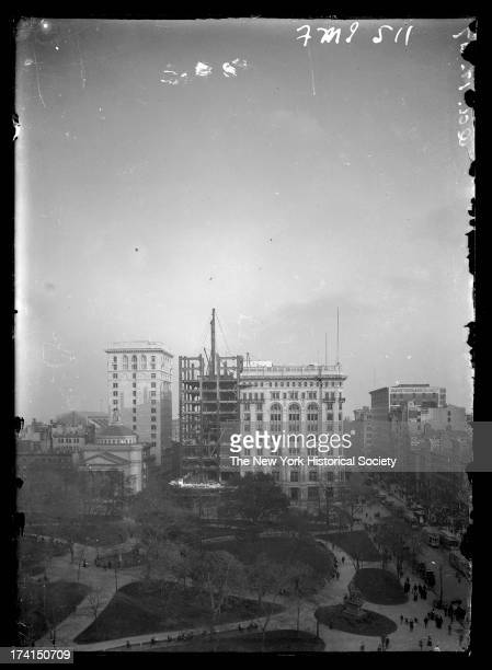 Madison Square Park showing Dr Parkhurst's Church and the Metropolitan Life Insurance Company tower under construction and billboards Oct 1 New York...