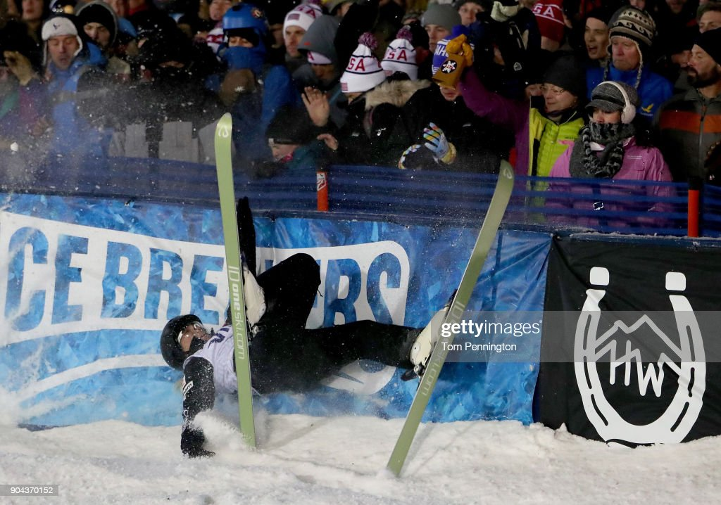 Madison Varmette of the United States crashes into the finish line barrier during in the Ladies' Aerials Finals during the 2018 FIS Freestyle Ski World Cup at Deer Valley Resort on January 12, 2018 in Park City, Utah.