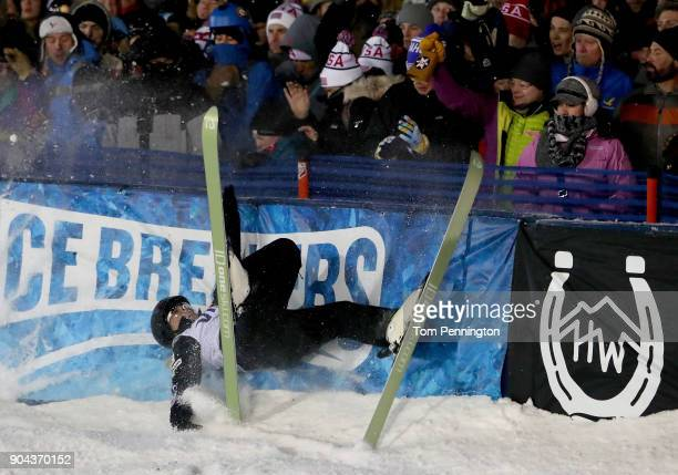 Madison Varmette of the United States crashes into the finish line barrier during in the Ladies' Aerials Finals during the 2018 FIS Freestyle Ski...
