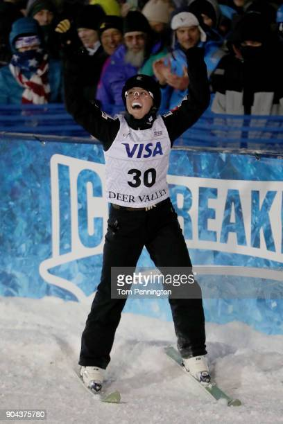Madison Varmette of the United States reacts during in the Ladies' Aerials Finals during the 2018 FIS Freestyle Ski World Cup at Deer Valley Resort...