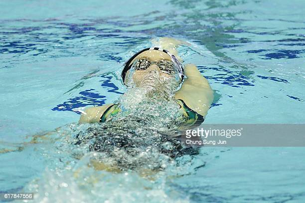 Madison Wilson of Australia competes in the Women's 200M Backstroke Heats on the day one of the FINA Swimming World Cup 2016 Tokyo at Tokyo Tatsumi...