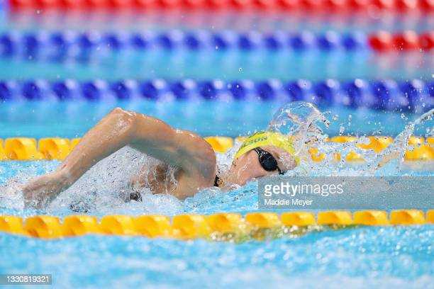 Madison Wilson of Team Australia competes in the Women's 200m Freestyle Semifinal 2 on day four of the Tokyo 2020 Olympic Games at Tokyo Aquatics...