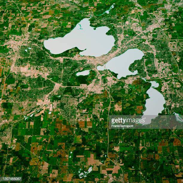 madison wisconsin 3d render map color top view sept 2018 - frank ramspott stock pictures, royalty-free photos & images
