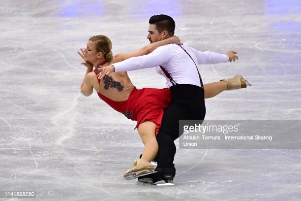 Madison Hubbell and Zachary Donohue of the United States compete in the Ice Dance Rhythm Dance on day one of the ISU Team Trophy at Marine Messe...