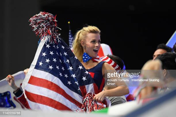 MadisonHubbell of the United States is seen on day two of the ISU Team Trophy at Marine Messe Fukuoka on April 12 2019 in Fukuoka Japan Photo by...