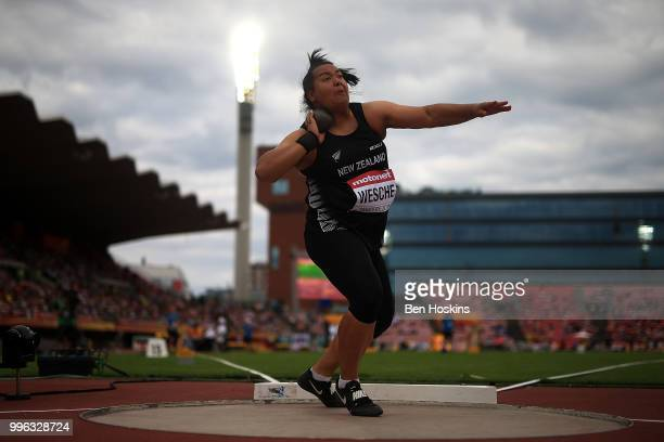 Madison-Lee Wesche of New Zealand in action during the final of the women's shot put on day two of The IAAF World U20 Championships on July 11, 2018...