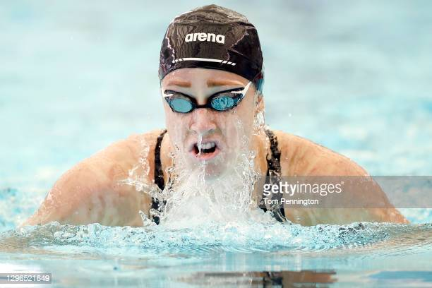 Madisyn Cox competes in the Women's 400 Meter IM heats on Day Two of the TYR Pro Swim Series at San Antonio on on January 15, 2021 in San Antonio,...