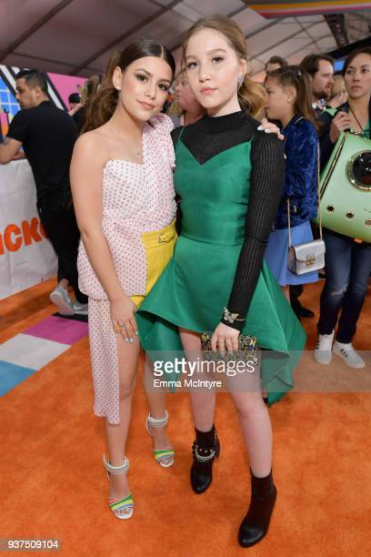 Madisyn Shipman and Ella Anderson attends Nickelodeon's 2018 Kids' Choice Awards at The Forum on March 24, 2018 in Inglewood, California.