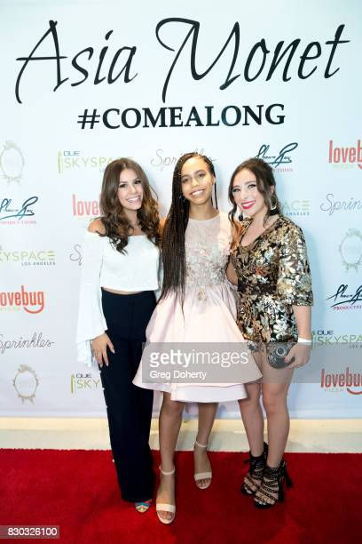 Madisyn Shipman Asia Monet and Ava Cantrell arrive for Asia Monet's 12th Birthday Party at OUE Skyspace LA on August 10 2017 in Los Angeles California