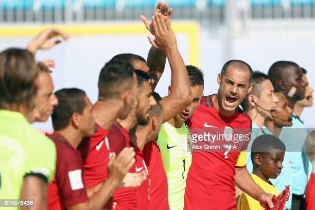 Madjer of Portugal and team mates react after their national anthem prior to the FIFA Beach Soccer World Cup Bahamas 2017 group C match between...