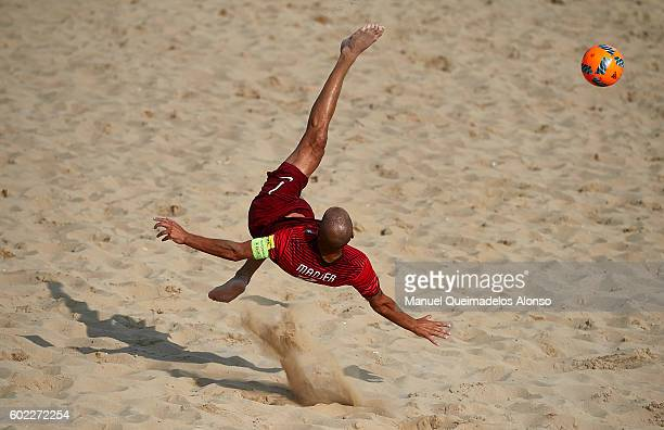 Madjer of Portugal attempts a scissor kick shot on goal during the FIFA Beach Soccer World Cup 2017 Qualifier Europe Jesolo 2016 match between...