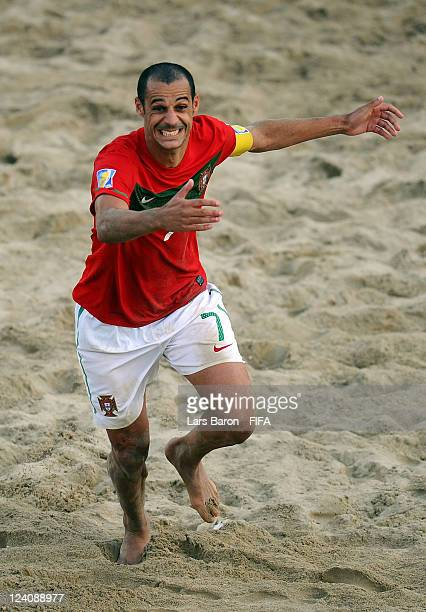 Madjer of Portugal celebrates after winning the FIFA Beach Soccer World Cup Quarter Final match between Portugal and Senegal at Stadium del Mare on...