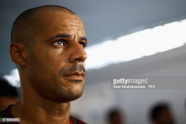 Madjer of Portugal looks on in the players tunnel prior to the FIFA Beach Soccer World Cup Bahamas 2017 quarter final match between Brazil and...