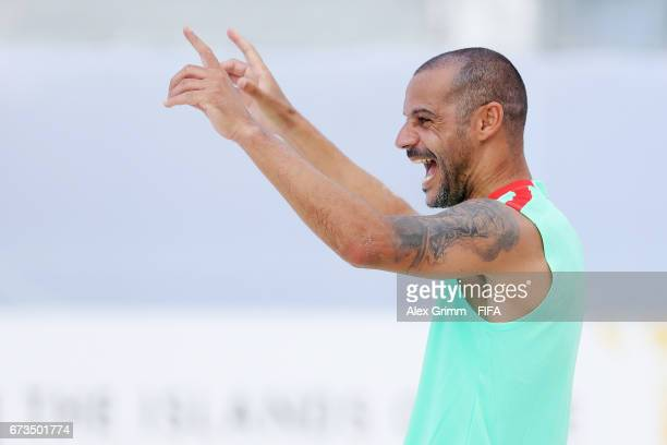 Madjer of Portugal reacts during a Portugal training session before the FIFA Beach Soccer World Cup Bahamas 2017 at National Beach Soccer Arena on...