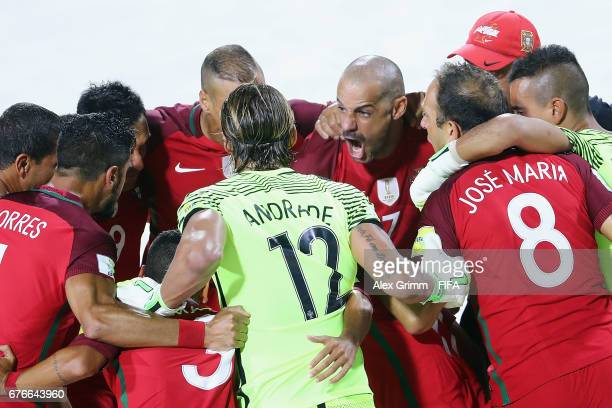 Madjer of Portugal speaks to th eteam before the FIFA Beach Soccer World Cup Bahamas 2017 group C match between United Arab Emirates UAE and Portugal...